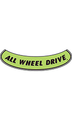"Smile Windshield Slogan Sticker - Black/Neon Green - ""All Wheel Drive"""