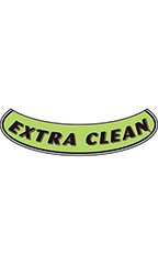 "Smile Windshield Slogan Sticker - Black/Neon Green - ""Extra Clean"""
