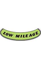 "Smile Windshield Slogan Sticker - Black/Neon Green - ""Low Mileage"""