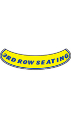 "Smile Windshield Slogan Sticker - Blue/Yellow - ""3rd Row Seating"""