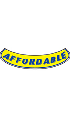 "Smile Windshield Slogan Sticker - Blue/Yellow - ""Affordable"""