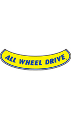 "Smile Windshield Slogan Sticker - Blue/Yellow - ""All Wheel Drive"""