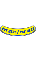 "Smile Windshield Slogan Sticker - Blue/Yellow - ""Buy Here/Pay Here"""