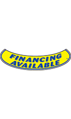 "Smile Windshield Slogan Sticker - Blue/Yellow - ""Financing Available"""