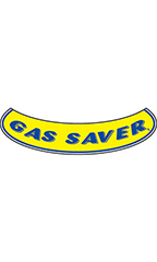 "Smile Windshield Slogan Sticker - Blue/Yellow - ""Gas Saver"""