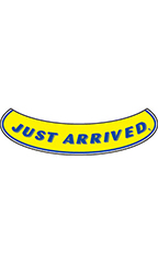 "Smile Windshield Slogan Sticker - Blue/Yellow - ""Just Arrived"""