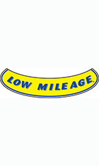 "Smile Windshield Slogan Sticker - Blue/Yellow - ""Low Mileage"""