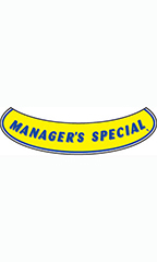 "Smile Windshield Slogan Sticker - Blue/Yellow - ""Managers Special"""