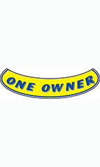 "Smile Windshield Slogan Sticker - Blue/Yellow - ""One Owner"""