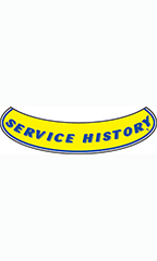 "Smile Windshield Slogan Sticker - Blue/Yellow - ""Service History"""