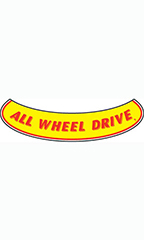 "Smile Windshield Slogan Sticker - Red/Yellow - ""All Wheel Drive"""
