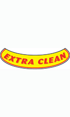 "Smile Windshield Slogan Sticker - Red/Yellow - ""Extra Clean"""