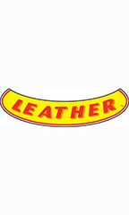 "Smile Windshield Slogan Sticker - Red/Yellow - ""Leather"""