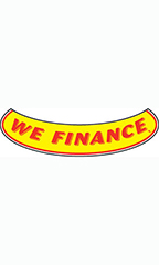 "Smile Windshield Slogan Sticker - Red/Yellow - ""We Finance"""