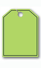 Mirror Hang Tags - Fluorescent Green - Blank with Border
