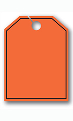 Mirror Hang Tags - Fluorescent Red - Blank with Border