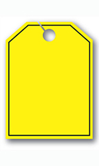 Mirror Hang Tags - Fluorescent Yellow - Blank with Border
