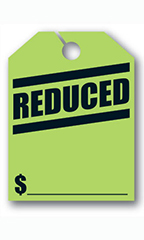 "Mirror Hang Tags - Fluorescent Green - ""Reduced"""