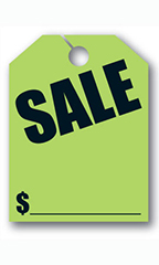 "Mirror Hang Tags - Fluorescent Green - ""Sale"""