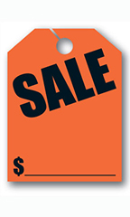 "Mirror Hang Tags - Fluorescent Red - ""Sale"""