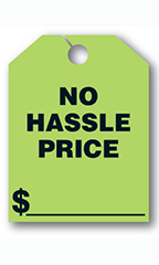"Mirror Hang Tags - Fluorescent Green - ""No Hassle"""