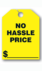 "Mirror Hang Tags - Fluorescent Yellow - ""No Hassle"""