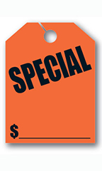 "Mirror Hang Tags - Fluorescent Red - ""Special"""