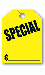 "Mirror Hang Tags - Fluorescent Yellow - ""Special"""
