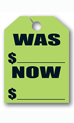 "Mirror Hang Tags - Fluorescent Green - ""Was Now"""