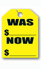 "Mirror Hang Tags - Fluorescent Yellow - ""Was Now"""