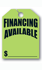 "Mirror Hang Tags - Fluorescent Green - ""Financing Available"""