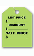 "Mirror Hang Tags - Fluorescent Green - ""List Price"""