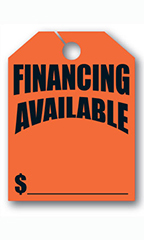 "Mirror Hang Tags - Fluorescent Red - ""Financing Available"""