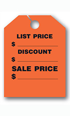"Mirror Hang Tags - Fluorescent Red - ""List Price"""