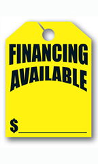 "Mirror Hang Tags - Fluorescent Yellow - ""Financing Available"""