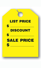 "Mirror Hang Tags - Fluorescent Yellow - ""List Price"""