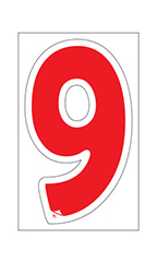 "Die-Cut Window Numbers - Red - ""9"""