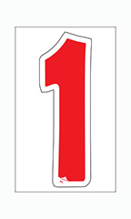 "Die-Cut Window Numbers - Red - ""1"""