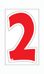 "Die-Cut Window Numbers - Red - ""2"""
