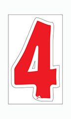 "Die-Cut Window Numbers - Red - ""4"""