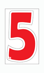 "Die-Cut Window Numbers - Red - ""5"""