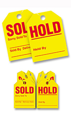 "Mirror Hang Tags - Red/Yellow - ""Hold Sold"""