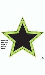 Black/Neon Green Star Impulse Stickers