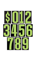 7 ½ inch Neon Green/Black Windshield Number Kit