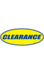 "Oval Windshield Slogan Sticker - Blue/Yellow - ""Clearance"""