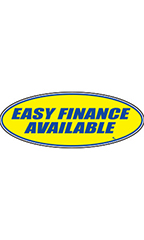 "Oval Windshield Slogan Sticker - Blue/Yellow - ""Easy Financing Available"""