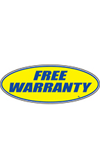 "Oval Windshield Slogan Sticker - Blue/Yellow - ""Free Warranty"""