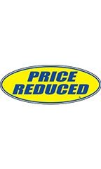 "Oval Windshield Slogan Sticker - Blue/Yellow - ""Price Reduced"""