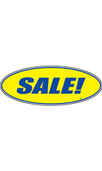 "Oval Windshield Slogan Sticker - Blue/Yellow - ""Sale!"""