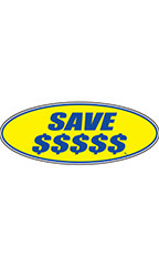 "Oval Windshield Slogan Sticker - Blue/Yellow - ""Save $$$$$"""